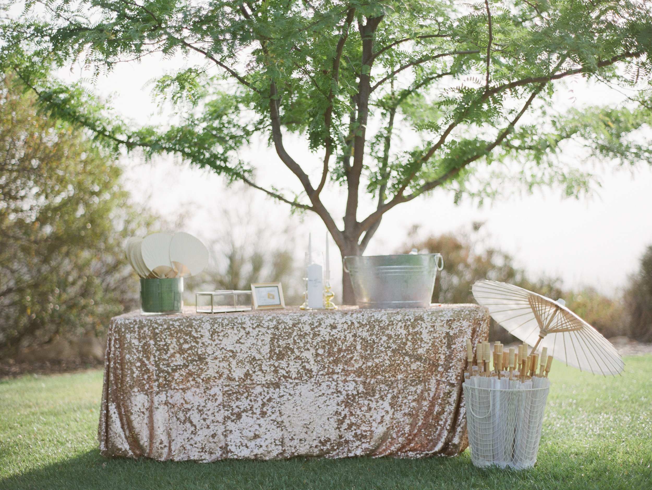 welcome table with sequined linen