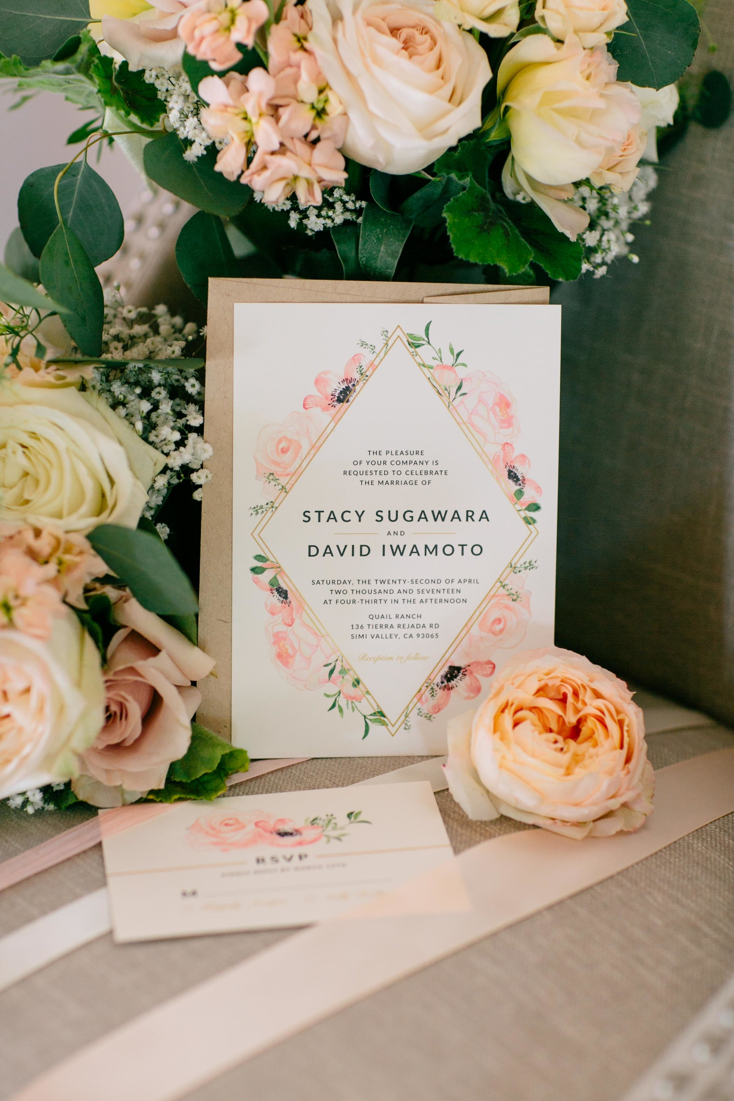 pink and gold watercolor flowers wedding invitation