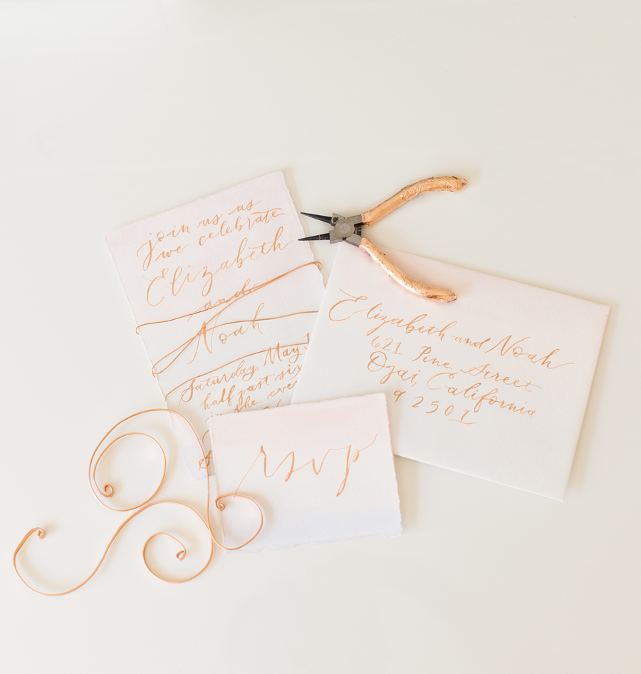 Copper and Blush Wedding Invitation