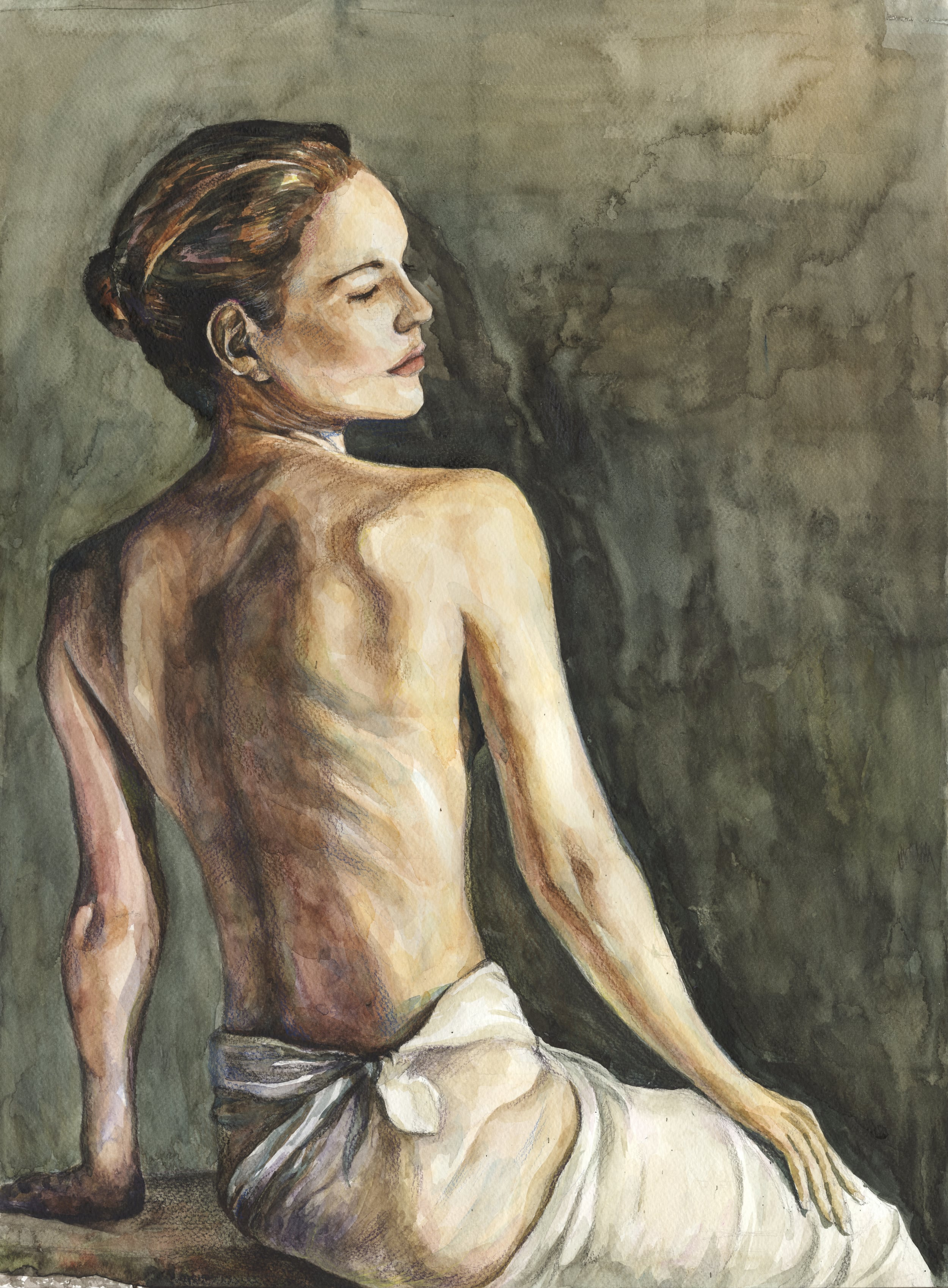 figure drawing - water color