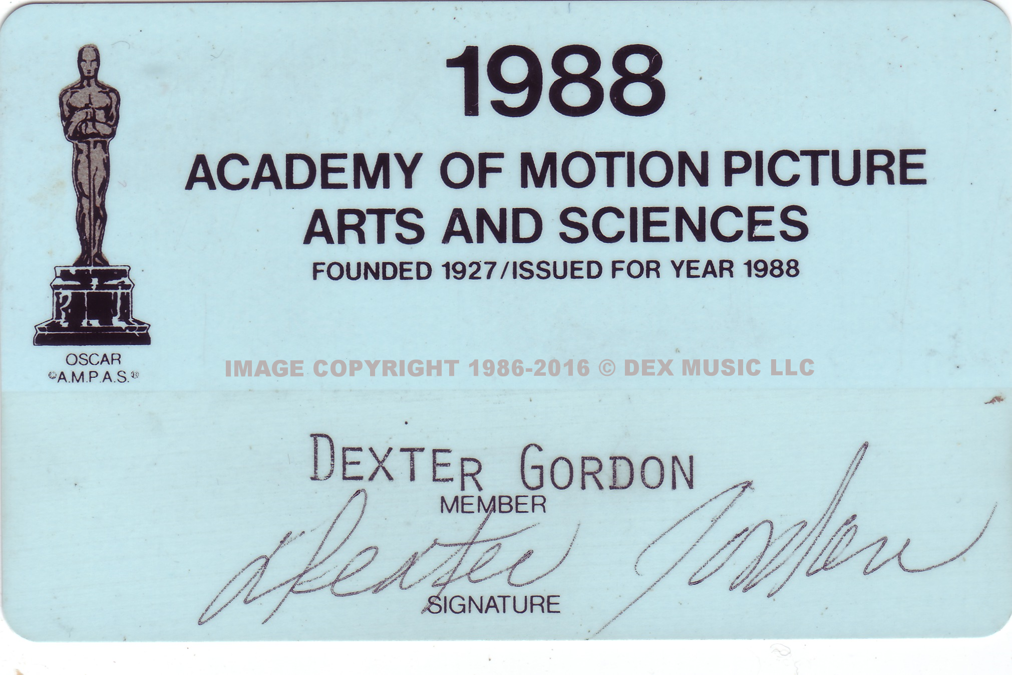 Dexter Gordon's Academy of Motion Pictures Membership Card