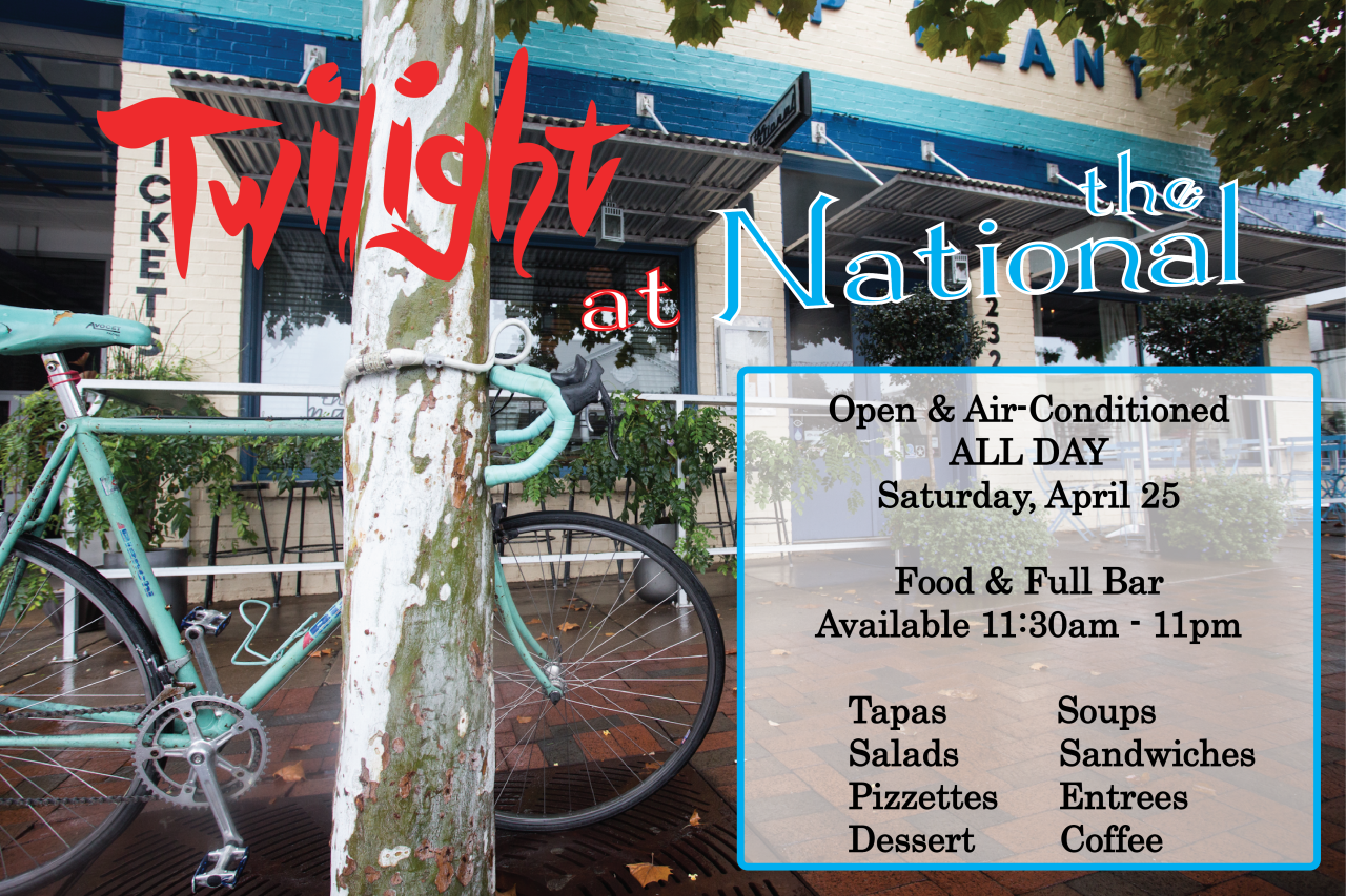 Welcome to Twilight!   This year, we're located just off the track, at the corner of Hull Street and Hancock Avenue. You can beat the heat at The National without missing the action. We're serving up food in the dining room, bar & on the patio  all day long , with a full bar and, of course, air conditioning! Join us from 11:30 am - 11 pm on Saturday, April 25 at this year's hot corner!        On the Menu…    Tapas  Olives Hummus Patatas Bravas Stuffed Dates Iberico Chorizo Rosalyn Carter's Cheese Ring 3-Cheese Plate   Soup & Salad  Mushroom Bisque Cucumber Gazpacho Spring Salad Seared Tuna Niçoise Salad Chicken Salad   Sandwiches & Pizzette  Turkey Burger Lamb Leg Sandwich Pizzettes    Available after 5 pm    Entrees  Twilight Vegetable Plate   Fish of the Day   Available after 5 pm    Hanger Steak   Available after 5 pm          For reservations, call 706-549-3450 or email at reservations@thenationalrestaurant.com