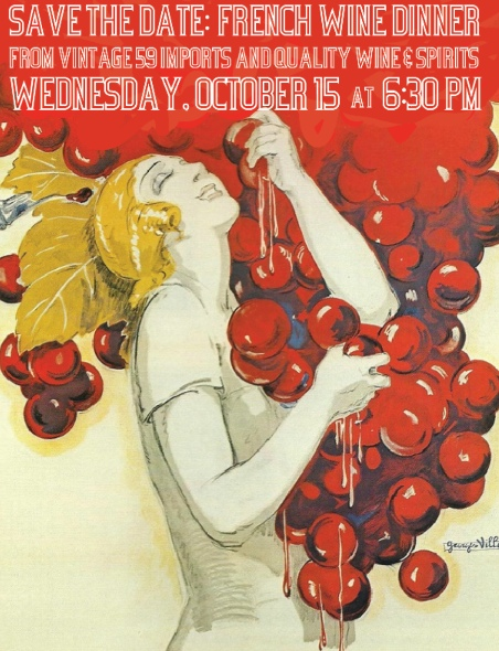 Wine Dinner at The National  Wednesday, October 15, 6:30 pm    Featuring a prix-fixe menu with Frencn wine pairings from Vintage 59 Imports and Quality Wine & Spirits    Menu to be announced soon…    For a reservation please call 706-549-3450 or email at reservations@thenationalrestaurant.com