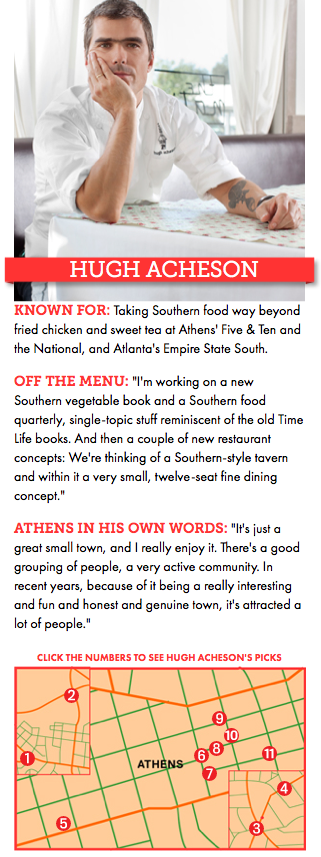 Let  Hugh Acheson  take you on a little tour of Athens' best hole-in-the-wall eateries, bars, and rock 'n' roll venues in this great article from   GQ Magazine  . If you are an Athenian, you may know many of these spots already, but who knows you might just see something new!    1. Normal Bar  2. Tlaloc  3. Kelly's Jamaican  4. Cali 'N' Tito's  5. Peaches Fine Foods  6. 40 Watt Club  7. Agora  8. Farm 255  9. The National  10. The Manhattan Cafe  11. Georgia Theatre    Read More at   The Short Order: Hugh Acheson's Guide to Athens, Georgia