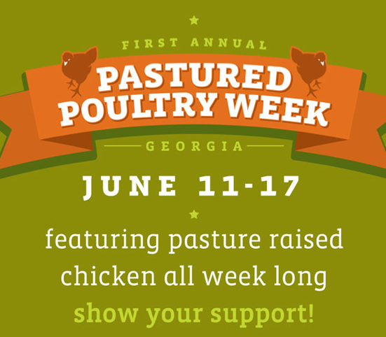 Why are restaurants and farmers markets coming together across Georgia to stand up for pastured poultry?      Because Factory Farmed Poultry Harms Us All…       Animal Welfare   The modern broiler chicken is unnaturally large and has been bred to grow at an unnaturally fast rate causing many serious welfare consequences.     Environment   In Georgia alone, industrial poultry operations produce enormous volumes of waste, collectively approximately 2 million tons of poultry litter annually, about 20% of the US total.     Human Health   The factory farming of chicken is resulting in more foodborne illnesses and antibiotic resistance.    Workers   Growers, catchers and processing plant workers are detrimentally impacted by excessive repetitive motion, exposure to respiratory toxins, and a growing gap between grower income and operational costs.     For more information, read on at   http://georgiansforpasturedpoultry.org/pastured-poultry-facts/        What's the alternative?  Pastured Poultry! Taste the difference on our dinner menu all week long with our  Roasted Darby Farms Chicken Roulade : pasture-raised chicken, basted with piri piri (a touch spicy), salad of basmati rice with field peas, local bell peppers, tomatoes, basil, and scallions, yogurt, almonds  {23}        Georgians for Pastured Poultry  is made up of a multi-stakeholder group including Chef Shaun Doty of Bantam & Biddy restaurant (set to open this fall), Compassion in World Farming, Sierra Club, Georgia Organics, GreenLaw, White Oak Pastures, Darby Farms and others.  The mission of this organization is to make Georgia the leader in the production and consumption of pastured poultry.