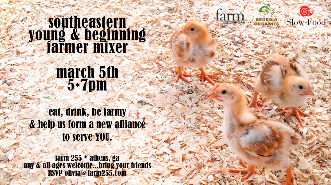 Southeastern Young & Beginning Farmer Mixer  Monday, March 5  5 - 7 pm  Farm 255  Athens, Ga      Young and beginning farmers in the southeast, let's meet up!     Join us on  March 5 at Farm255  for an inaugural gathering of emerging farmers from across the region, as we launch the  Southeastern Young and Beginning Farmers Alliance  with a good old-fashioned party. Beer and local farm fare will be provided to snack on, and we'll round out the evening with a short program about the initiatives affiliated with the farm bill that young farmers need to know about and a survey to take stock of your opinions. Bring a friend or prospective farmer and raise your glass with us to the next generation of farmers!     In coordination with Georgia Organics & Slow Food, we — the farmers, chefs and activists of the southeast — invite  YOU  to connect with your peers, learn from each other, and create momentum in developing the voice of the New Farmer in the Southeast. This alliance will span age groups, regions, states, and conventional as well as organic practices in order to address specific regional objectives with the potential to affect our region's agricultural promise.    At this inaugural event, that we hope will preclude many similar events across our region in the future, we aim to:  •	Build Organizational Partnerships that will   help shape the direction of the group  •	Exchange Resources   •	Create Unity  •	Share in Learning about helpful   initiatives and programs  •	Become Educated about policies that   can help strengthen the agricultural community  •	Gather information on the issues and needs of this   broad community to develop an alliance centered   around specific regional objectives      Numerous other similar groups around the country have begun with great success, and the south is distinctly lacking a localized forum for new agriculturalists. Let's make that change!      RSVP to olivia@farm255.com   {but feel free to show up day-of regardless at to whether you've RSVPd}