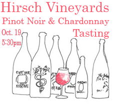 Tonight, the Pinot Pioneer of the West Sonoma Coast, David Hirsch, visits us at The National for a unique opportunity to be led in a tasting of exceptional wines by a true expert and artisan.   We hope you'll join us!     Wednesday, October 19  5:30pm  at the bar {or a reserved table in the dining room if you prefer}  $20 per person        for tasting,  three Hirsch Vineyards Pinot Noirs and one Chardonnay  for nibbling,  a cheese and charcuterie plate with olives and almonds      Read more about Hirsch Vineyards  here