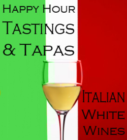 Our Friday Wine Tasting Series continues, and this week we're headed to Italy…      enjoy three Italian white wines with tapas  $18 per person  today Friday, July 22  5:00-6:30 pm  in the bar, or at a reserved table in the dining room if you prefer    Tastings      Cerreto Langhe Arneis 2009      Santadi Vermentino di Sardegna 2010       Villa Matilde Campania Falanghina 2009   Tapas      arugula salad with grilled peach, goat cheese dressing, marinated onions and almonds       local cantaloupe with la quercia prosciutto, pea shoots       orrechiette pasta with local basil-pecan pesto, grana padano       simple pizzette with tomato, olives and extra virgin olive oil       grilled squid with tomato vinaigrette