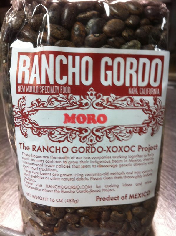 My current obsession, moro beans from Rancho Gordo, the creamiest, tastiest black beans I've tasted.