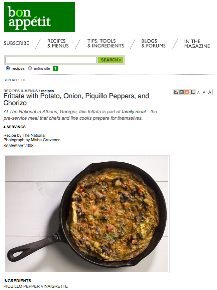 Bon Appétit features recipe from staff meal at the National.