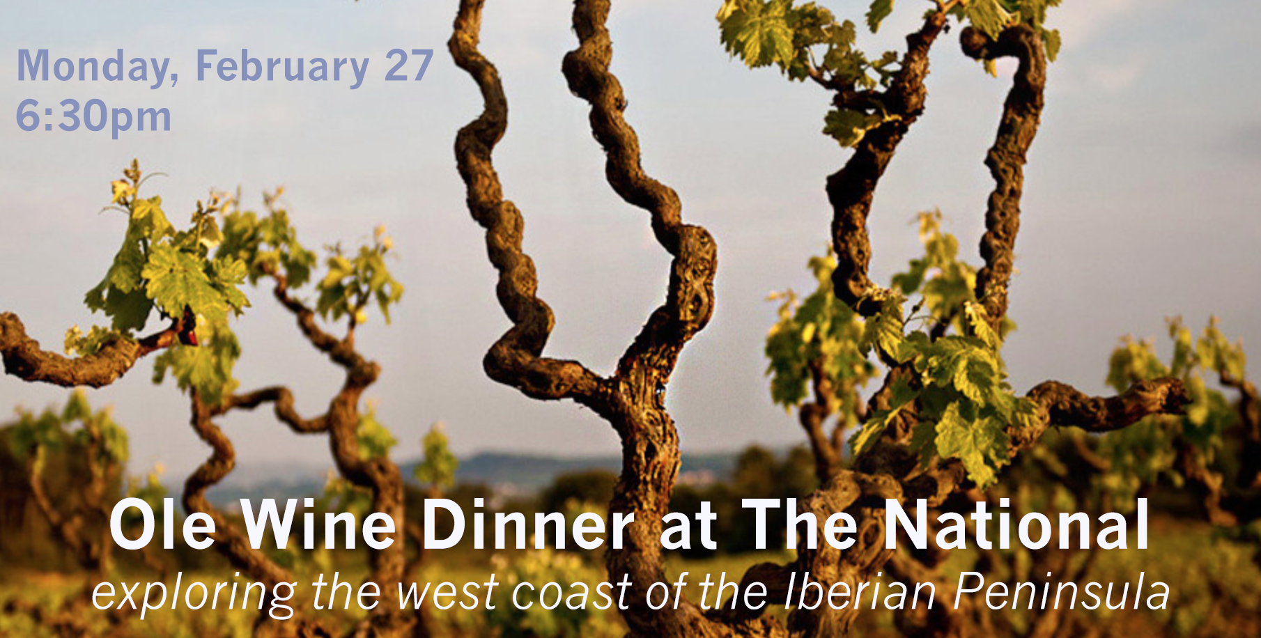 Join us as we tour the backroads of the winding west coast of Spain and Portugal. Through five courses paired with six wines, you'll be introduced to the largely unknown but incredible wines made from native grapes of the Iberian Peninsula. In partnership with Ole Imports and ABC Package, we bring you a wine dinner of exploration and flavor.   Seatings are available at 6:30pm on Monday, February 27 $70 per guest, plus tax and gratuity     On the Menu...   1. Serrano ham, almonds, olives, smoked mackerel spread, grilled bread  Poco do Lobo, Aristo, Bairrada, Portugal 1995   2. Salt cod salad, tomato, red and green pepper, spring Vidalia, black olive, egg, GA olive oil  Ferriol, Xarello, Penedés, Spain 2015    3. Broad River Pastures suckling guinea hog, mushrooms, kale and chorizo  A Portela, Mencia, Valdeorras, Spain 2014  and  Xisto Ilimitado, Touriga Franca-Tinta Amarela-Tinta Roriz, Douro, Portugal 2014    4. Community Meat Co. braised oxtails and crispy potatoes  Portal Tinto, Garnacha-Carignan-Merlot, Terra Alta, Spain 2012    5. artisanal cheeses with accompaniments   Dolc d'Orto Blanc, Garnacha Blanca, Montsant, Spain 2014   chocolates to finish      For reservations call 706-549-3450 or email reservations@thenationalrestaurant.com