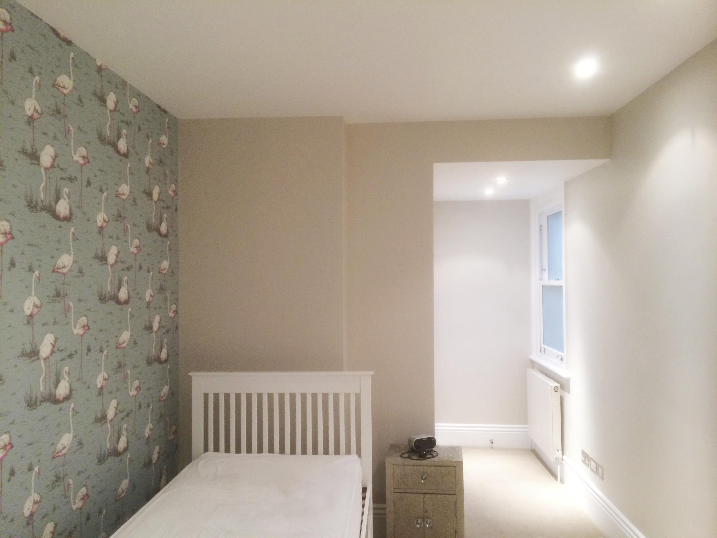#NHRenovations #Painter #Decorator #London #PrimroseHill #Windows #Farrowandball #Farrow #Allwhite #LauraAshley #Wallpaper #Flamingos