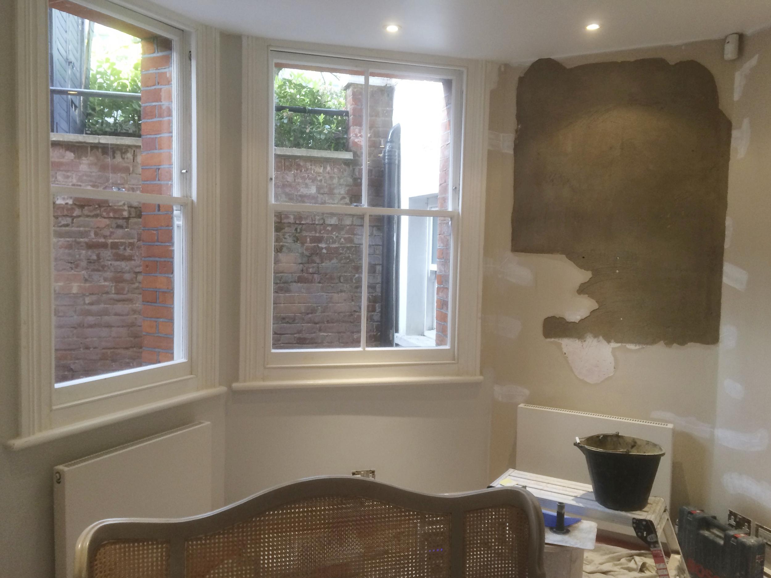 #NHRenovations #Painter #Decorator #London #PrimroseHill #Windows #BlownWalls #Patch #Plastering