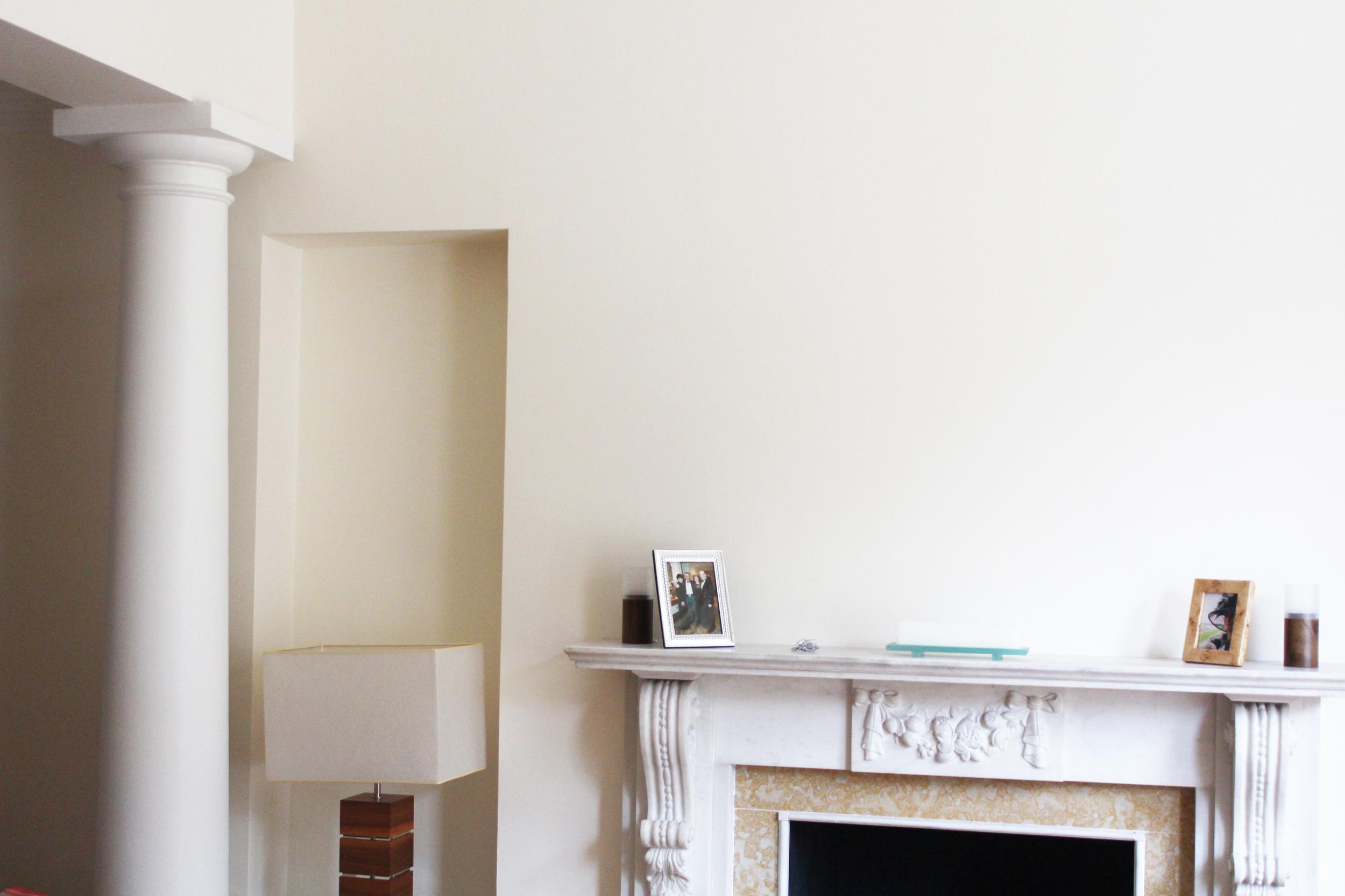 #NHRenovations #Painter #Decorator #London #Kensington #Knightsbridge #Marbel #Fireplace #Farrowandball #Farrow #Allwhite #Ceilings #Woodwork #Tallow #Walls #eggshell