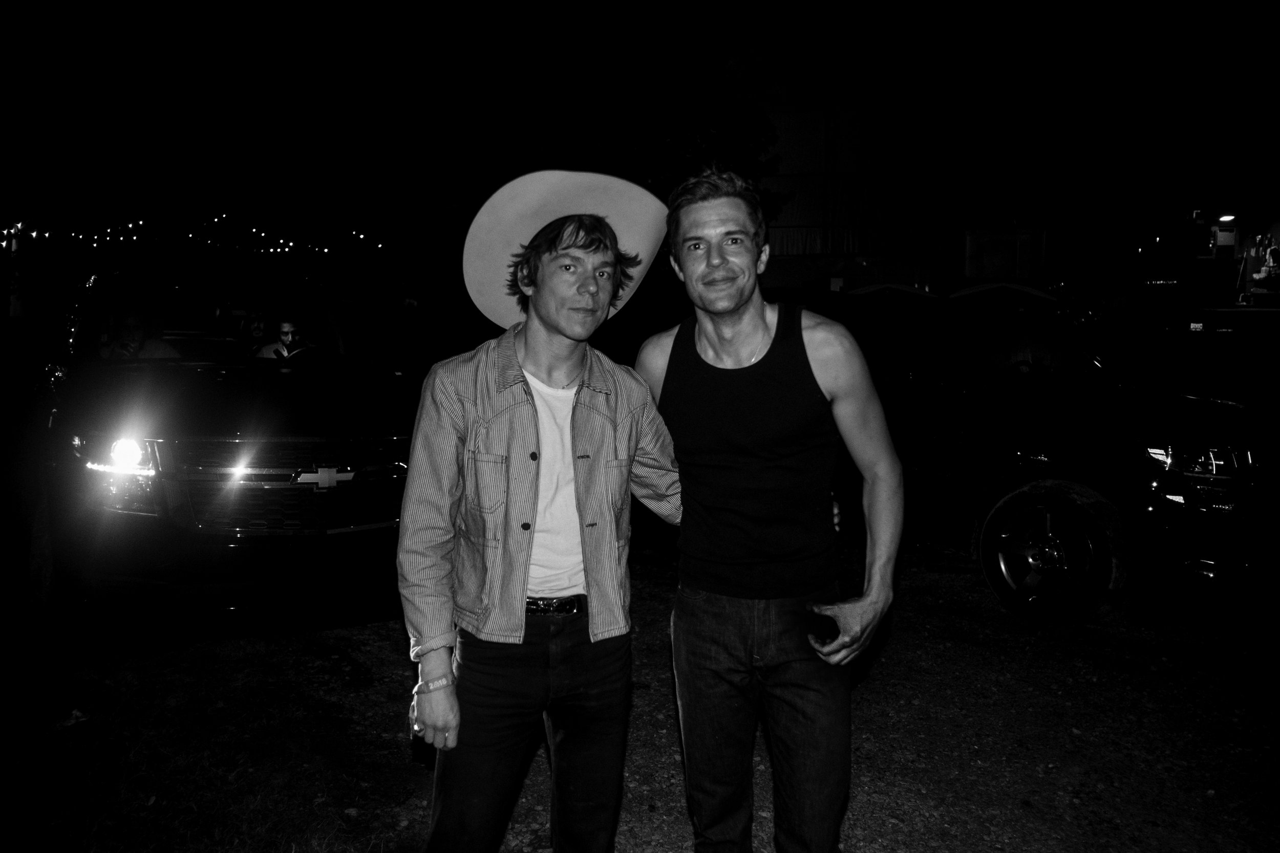 Matt Shultz of Cage the Elephant with Brandon Flowers of The Killers.