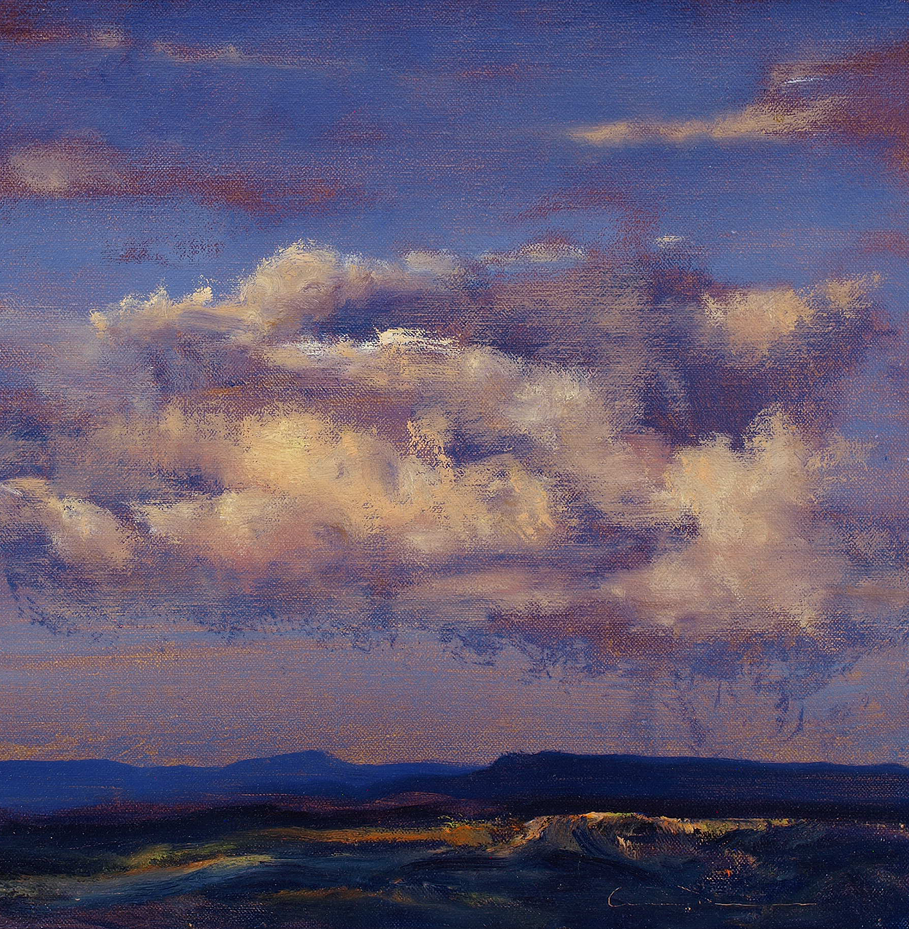 """Late Afternoon, Rio Grande Valley  Oil on linen 12"""" x 12""""  SOLD"""