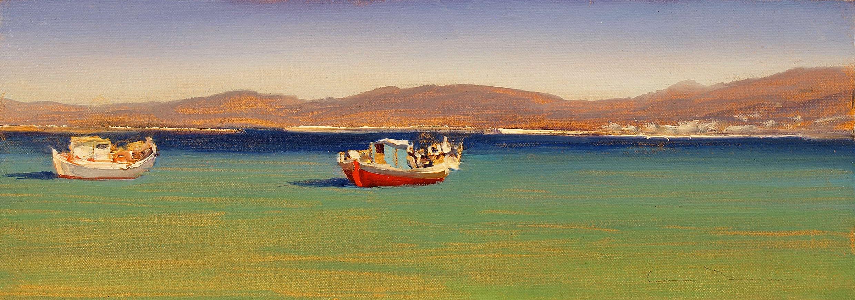 "Morning, Mykonos  Oil 6"" x 16"""