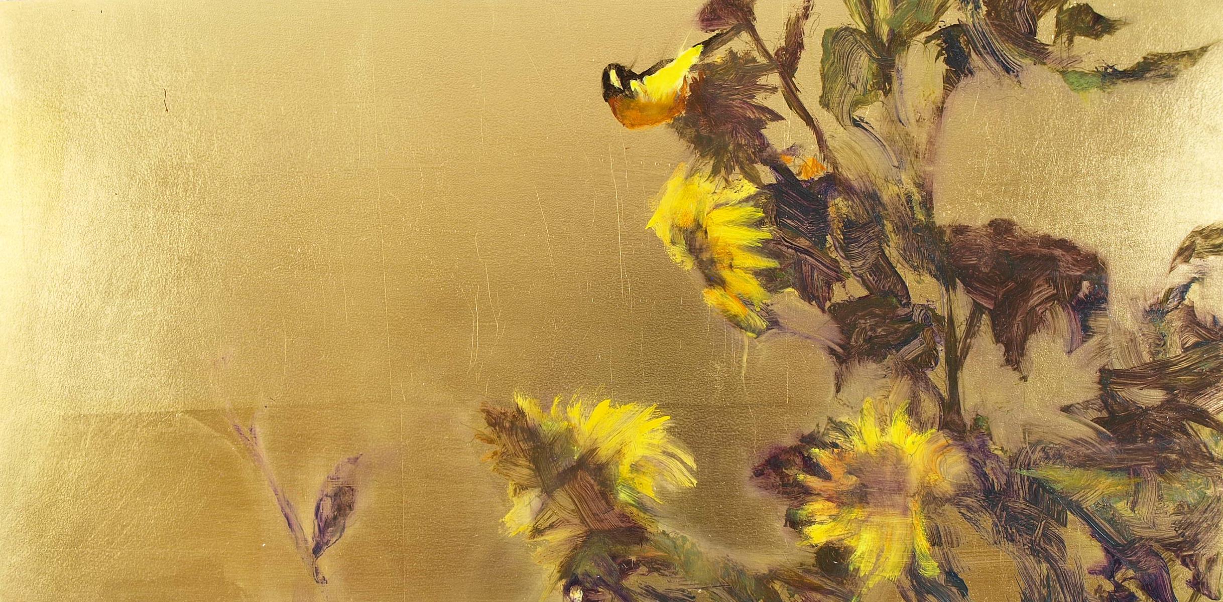 "Sunflower Finch 2  Oil on metal leaf 9"" x 18"""