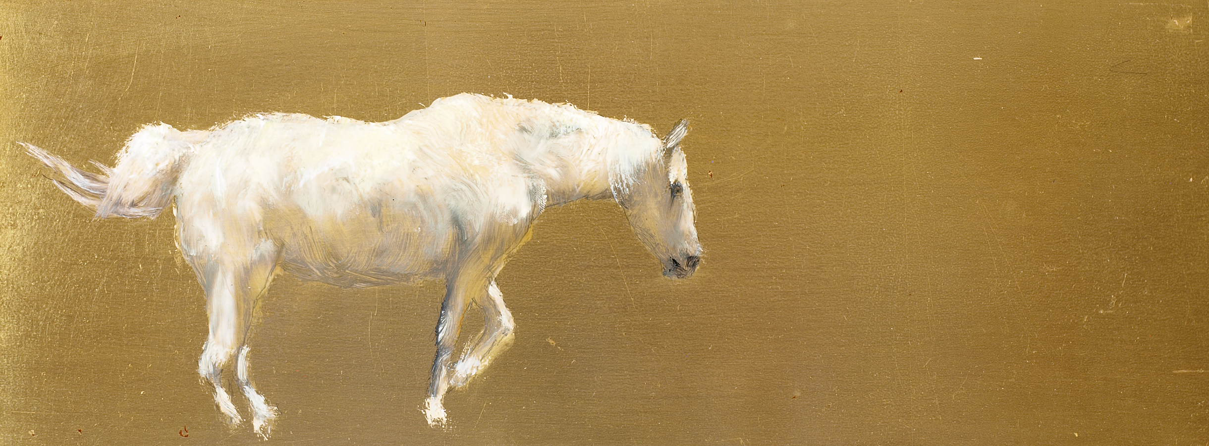 """White and Gold  Oil on metal leaf 6"""" x 16""""  SOLD"""