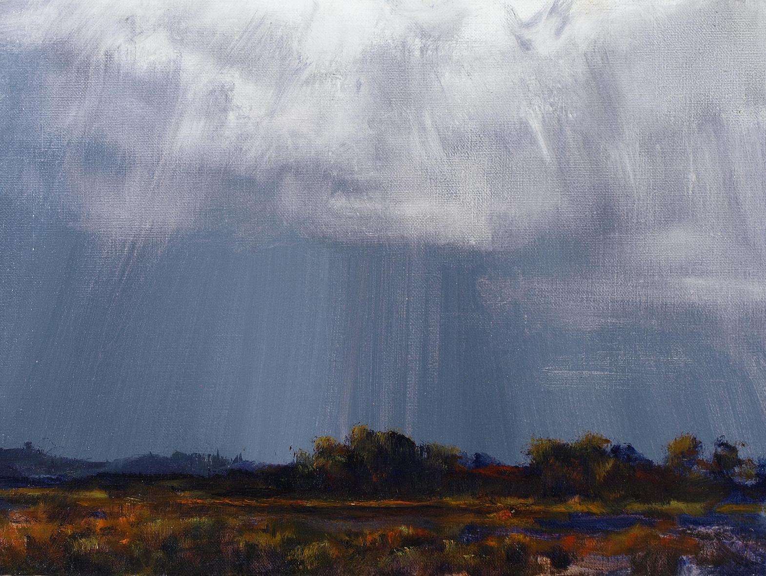 "September Cloud Study 1  Oil on linen 12"" x 15"""