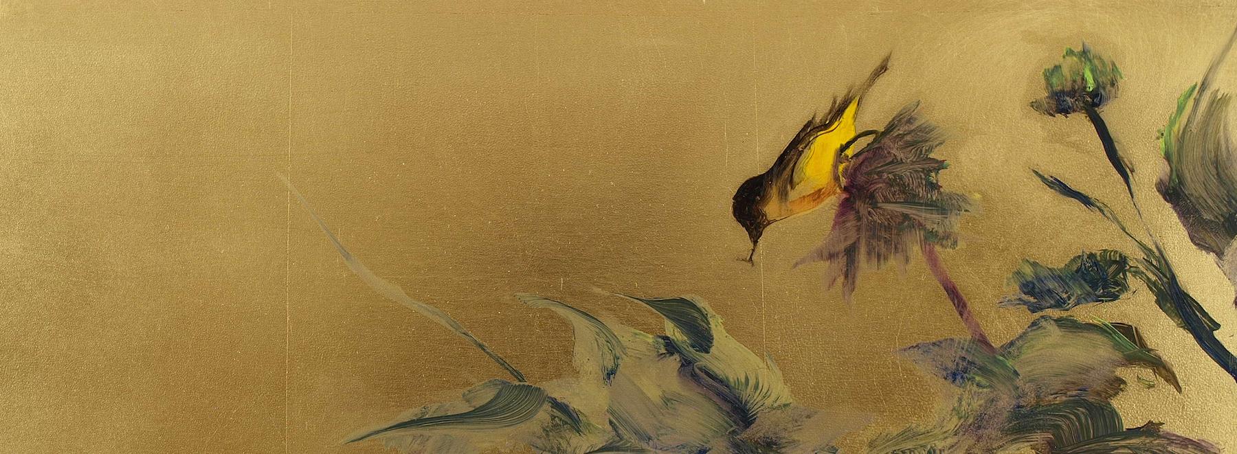 "Sunflower Finch  Oil on metal leaf 6"" x 16""  SOLD"