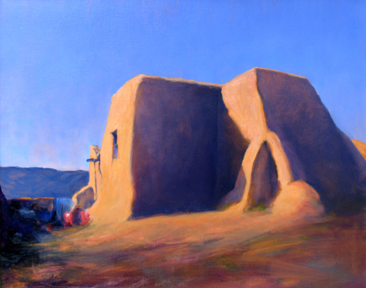 """Church At PICURIS,  oil on linen, 24"""" x 30"""""""