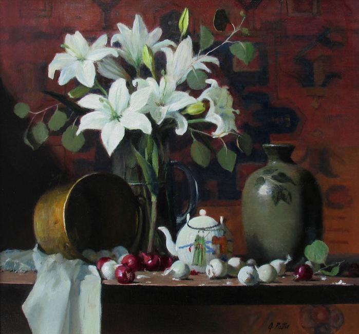 "Joan Potter, Lilies & Eucalyptus ,oil on canvas, 20"" x 22"""