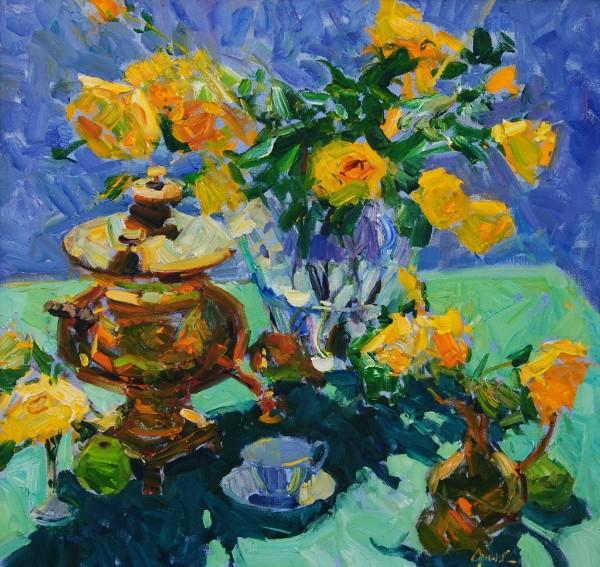 "Walt Gonske, Samovar with Roses , oil on linen, 32"" x 34"""