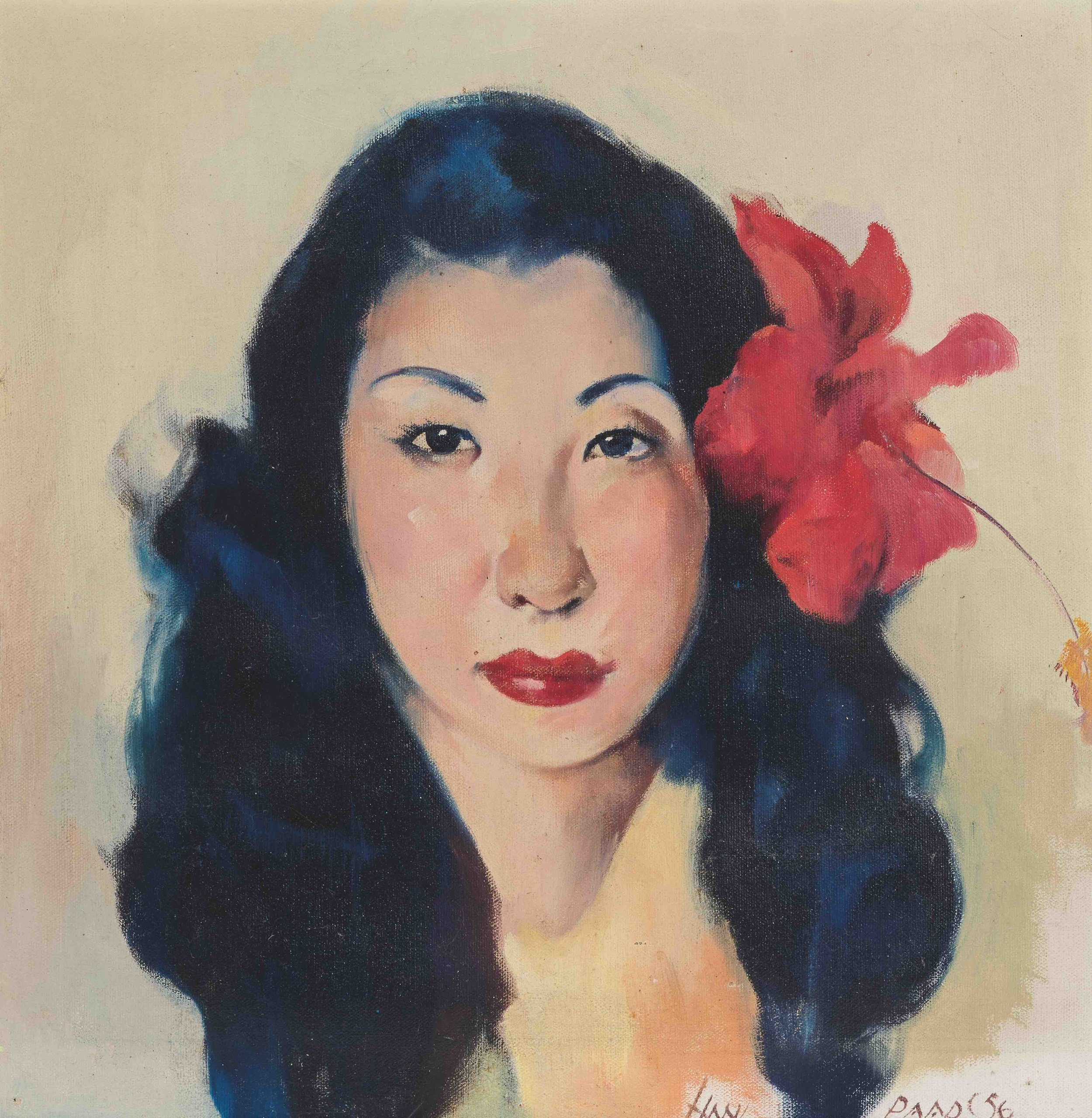 Portrait of Hawaiian Woman with Red Hibiscus