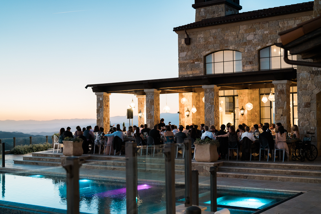 Malibu Sunset Wedding Reception at Hilltop Vineyard