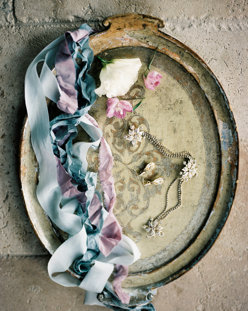 Hand Dyed Silk Ribbon with Wedding Accessories on Vintage Plate