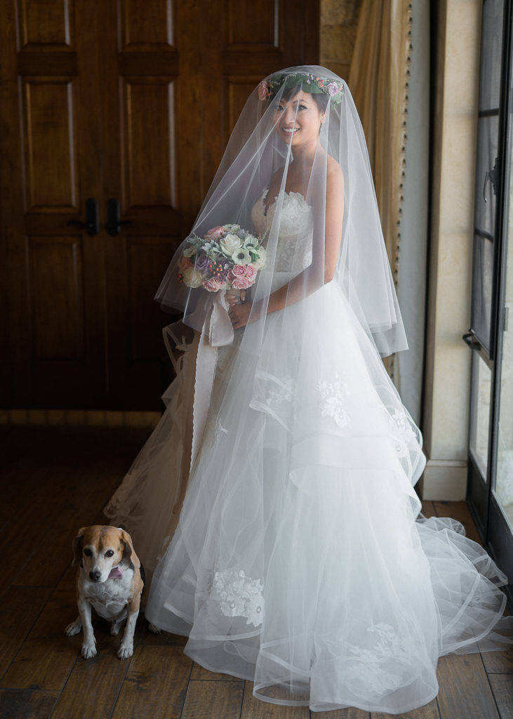 Malibu Rocky Oaks Bridal Portrait With Pet Dog Bearer