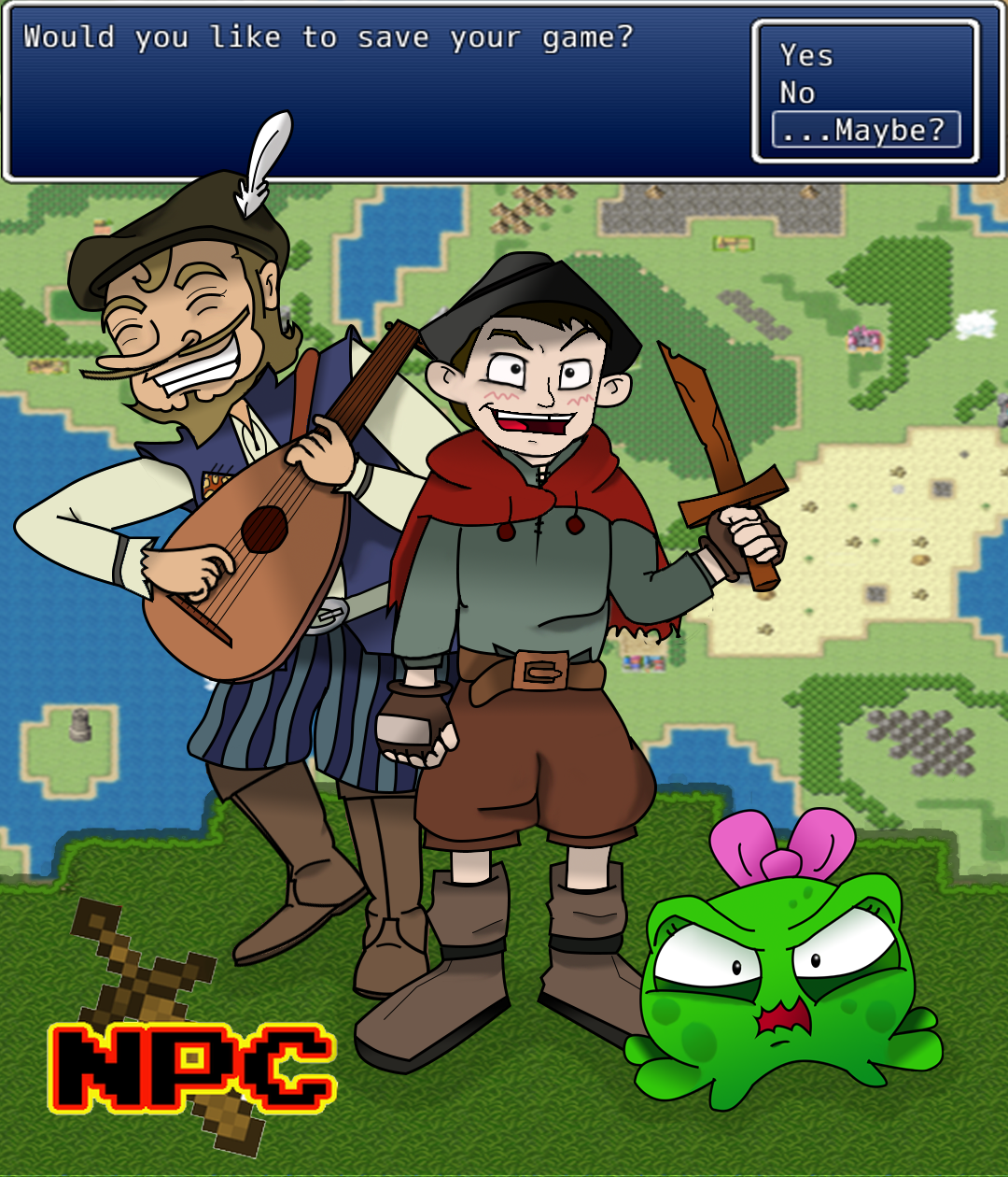NPC - Bax was a perfectly happy background character in the starter village of Highdale. Standing motionless behind a counter was all he ever knew. That was until Sir Adwin, the hero of Bluehaven, came into his shop and insulted the wooden swords they sold. Now Bax and his growing party of misfits and non-players are on a quest to hunt down this Knight through a video game inspired world, and show him that there is more to his swords, and himself, than meets the eye.Bax - A young shopkeeper with an axe to grind, well actually a wooden sword.Menu - Bax's otherworldly guide on his quest through the unknown land's of Bluehaven.Squib - A foul-mouthed slime child who joins Bax on his quest to find Sir Adwin.Trumbly - A mysterious bard. Not much is known about him, but he's always just a little too happy.Lucia - Witch of the desert, who also holds the power to harvest broken Menus.Wyatt - Bax's taller, more handsome older brother. He likes to think he's awkward, but in like, an endearing way.