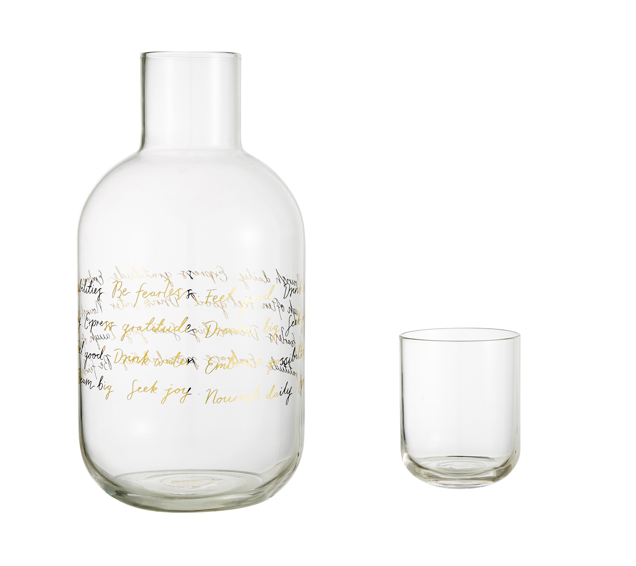 GLASS WATER BOTTLE WITH CUP: SVENSKA HEM £18.00