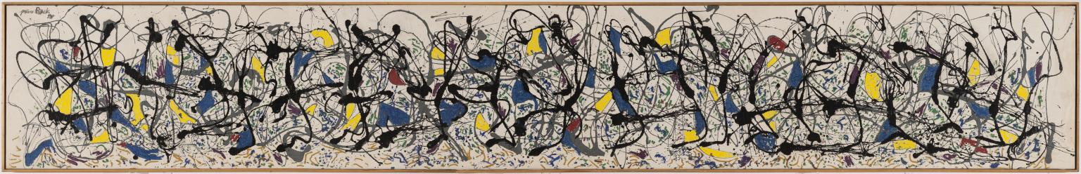 Jackson Pollock,Summertime,1948,  Oil paint, enamel paint and commercial paint on canvas, Tate. Image courtesy of the Tat e
