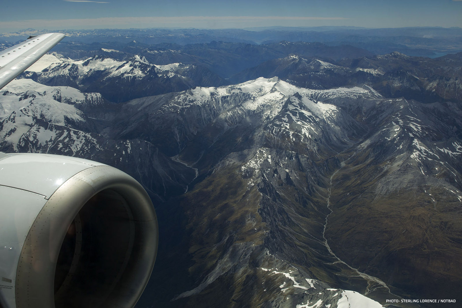 Air New Zealand over the south Island
