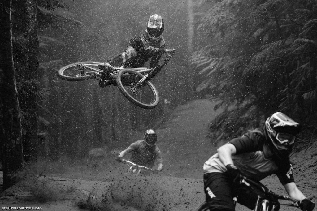 Thomas Vanderham, Fin Iles, and Matt Miles at Whistler Mountain Bike Park for the dirt blizzard segment of Unreal by Anthill films.