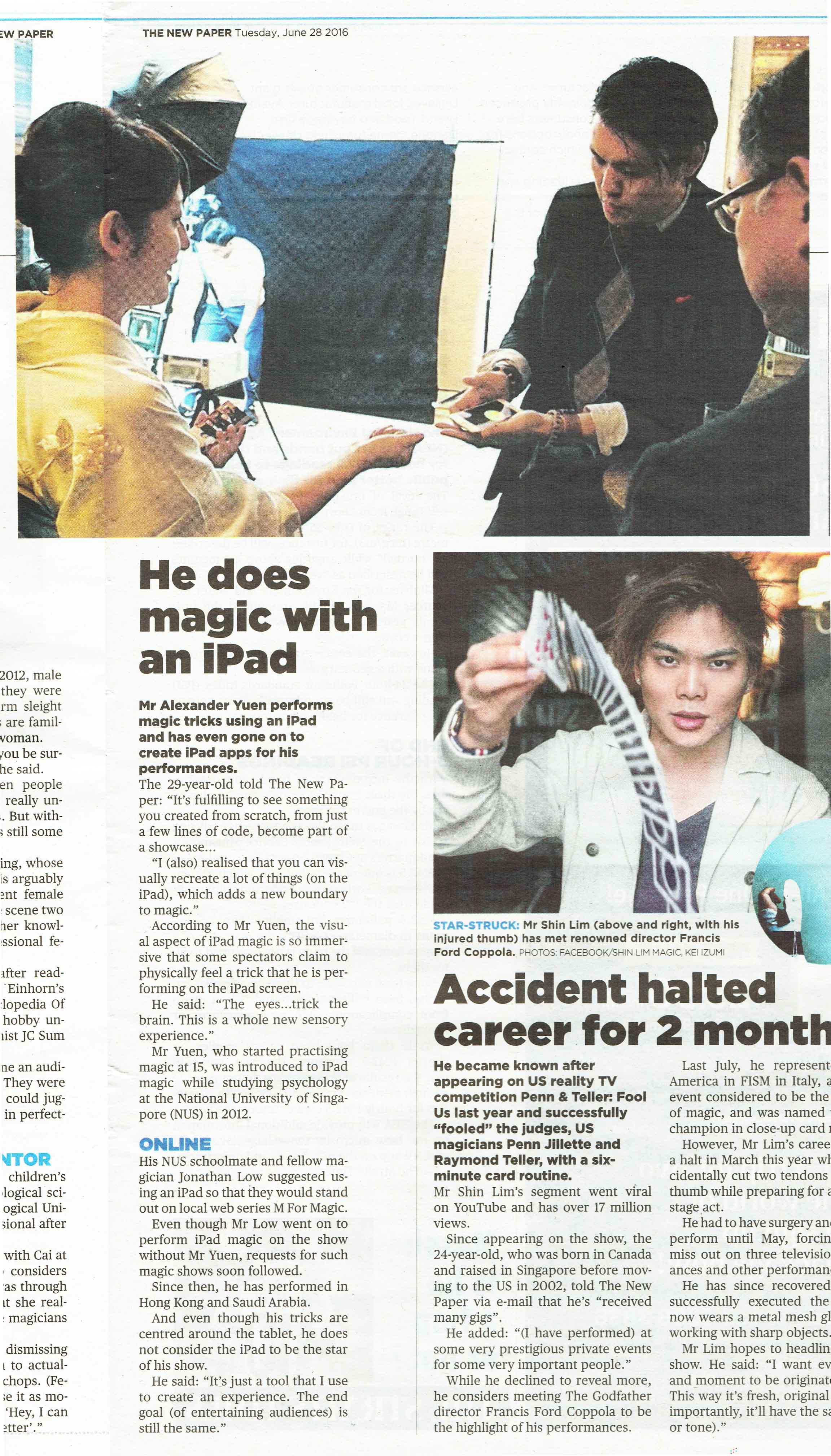 iPad Magician Singapore Newspaper