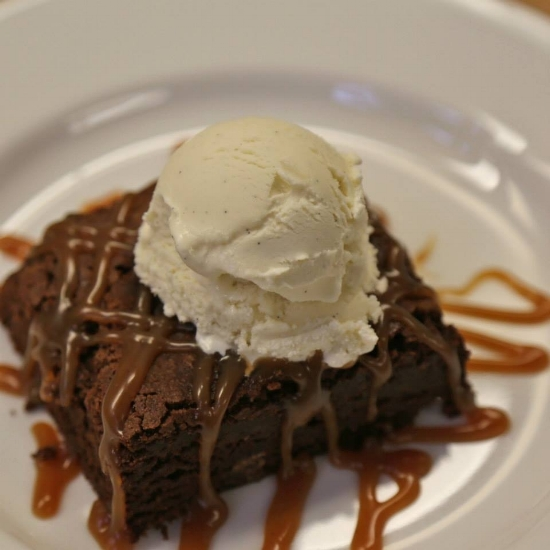 Brownie with Salted Caramel Sauce