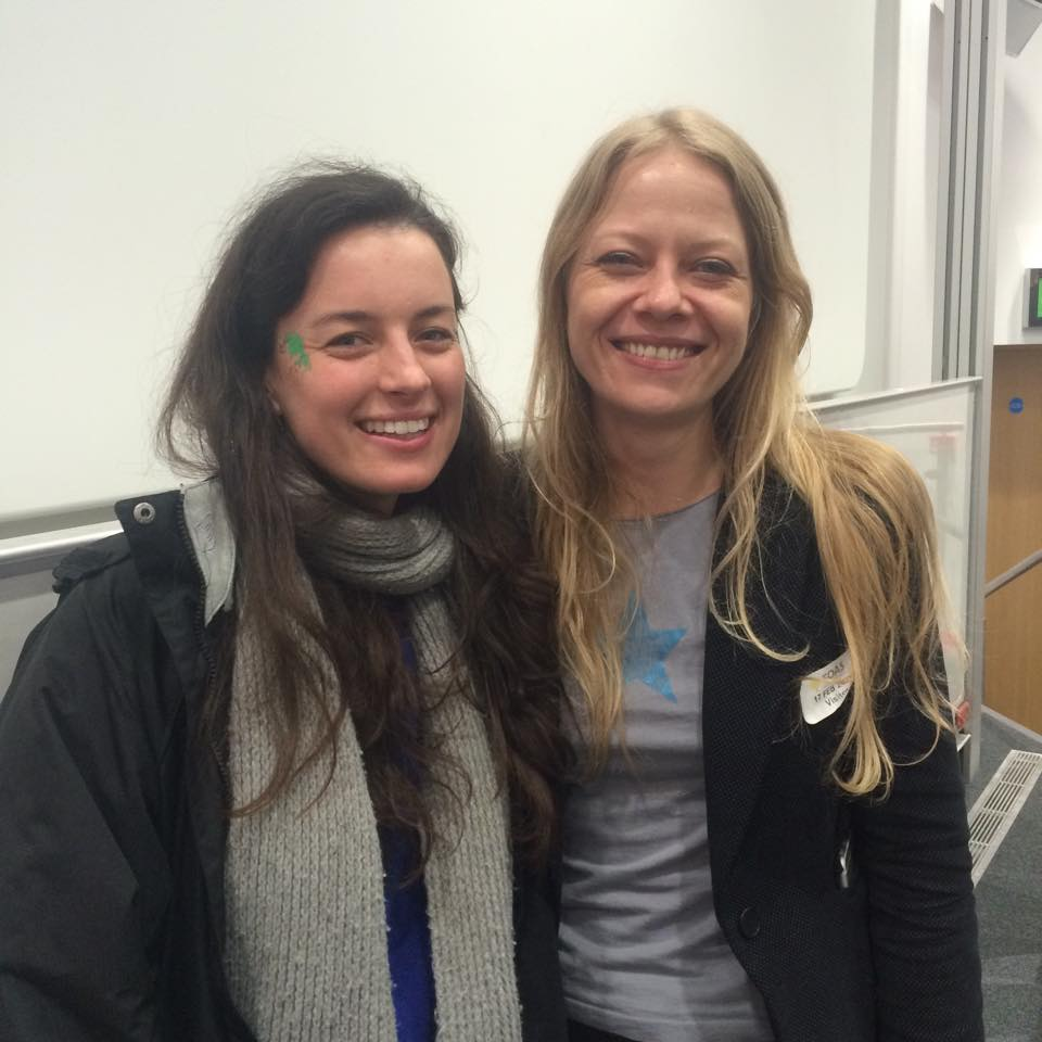 Sian Berry poses with Hannah from Solar SOAS / UniSolar