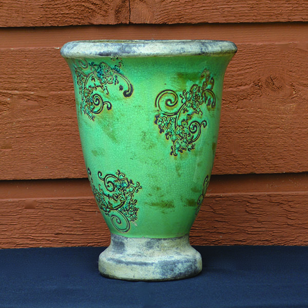 Ceramic Turquoise Tapered Urn