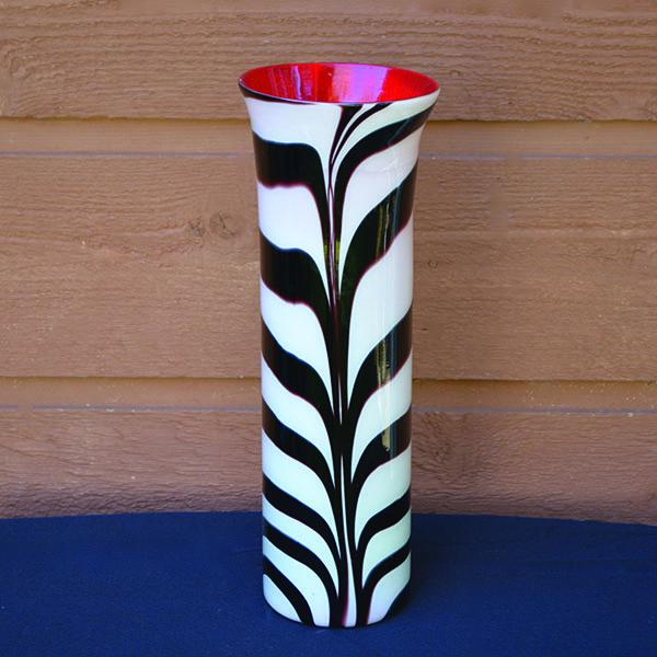 Glass Zebra Print Cylinder Vase