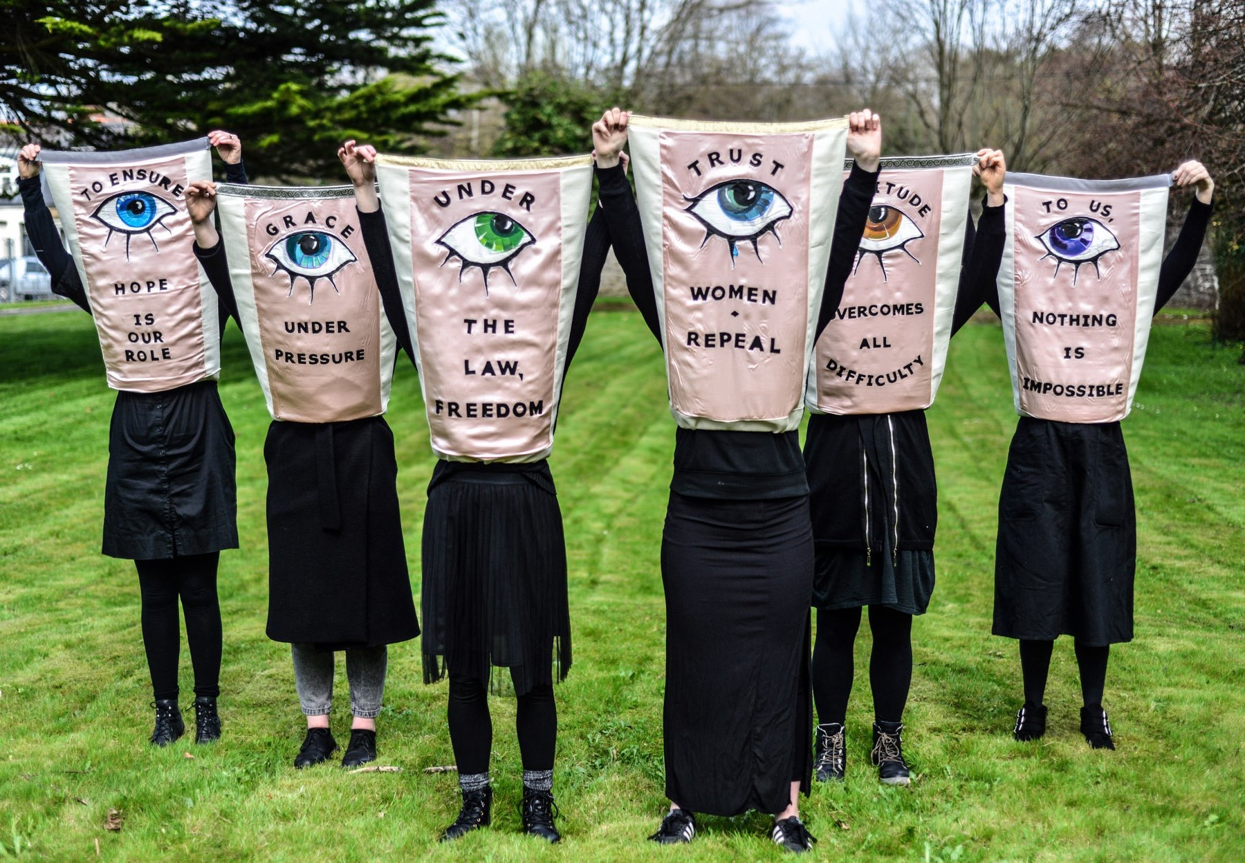 Aprons of Power performance for the Artists' Campaign to Repeal the Eighth Amendment Repeal! Procession at EVA International Biennale, 2018, Limerick. image credit; Darren Ryan