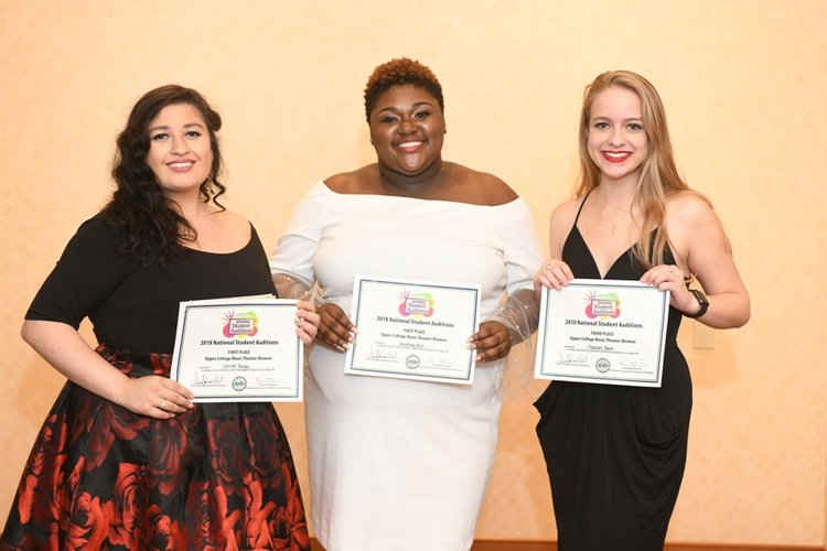 - Category 9 – Upper College Music Theater Women1st Place (tie): Desiree Borges, Mid-Atlantic Region, Student of John Wright