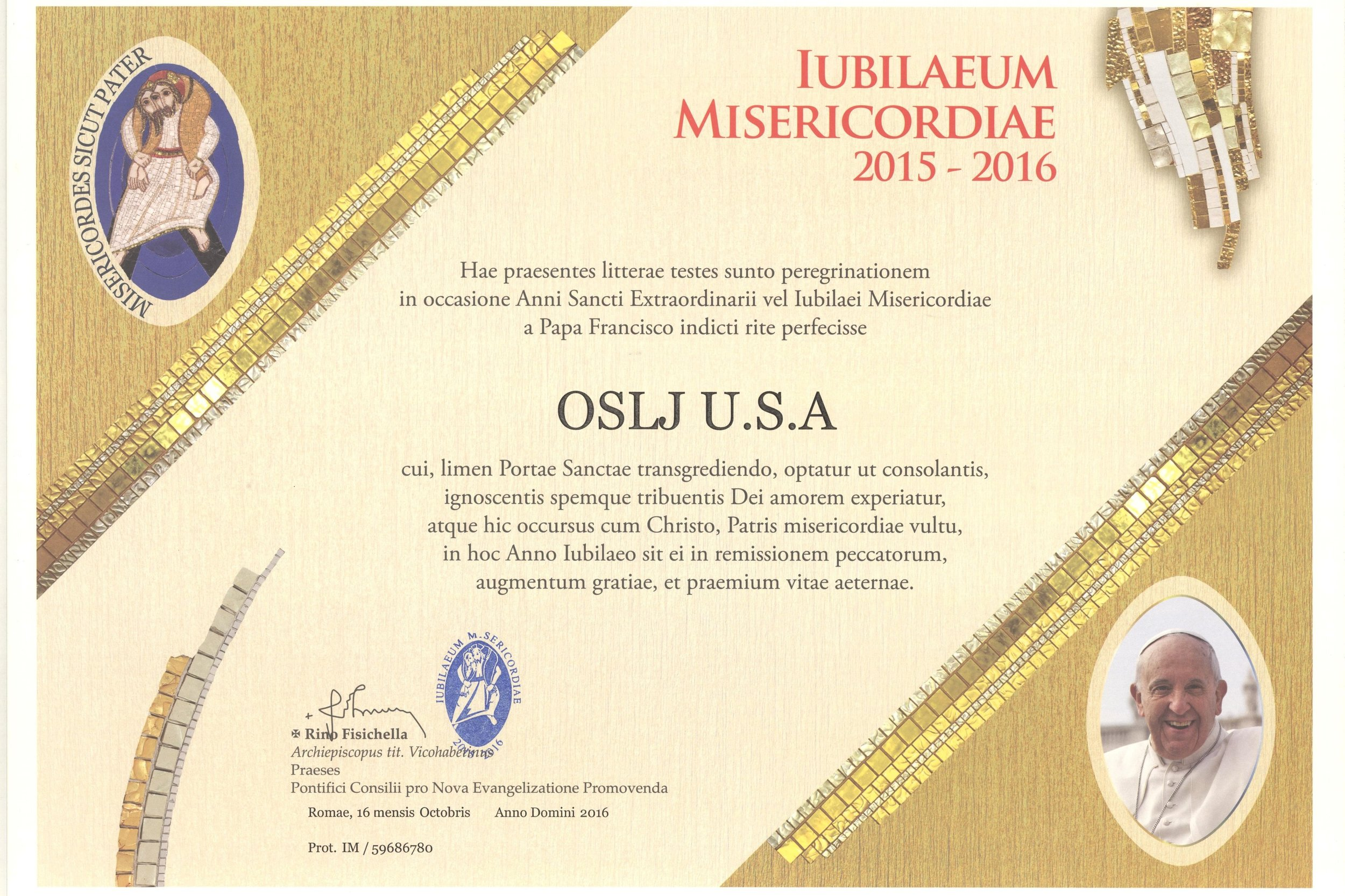 Certificate of Pilgrimage for the US Grand Priory of Saint Lazarus - Rome, Italy 2016