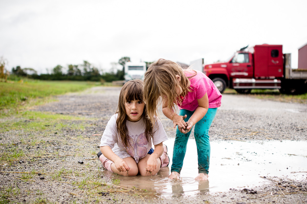 playing in muddy puddles in the spring -