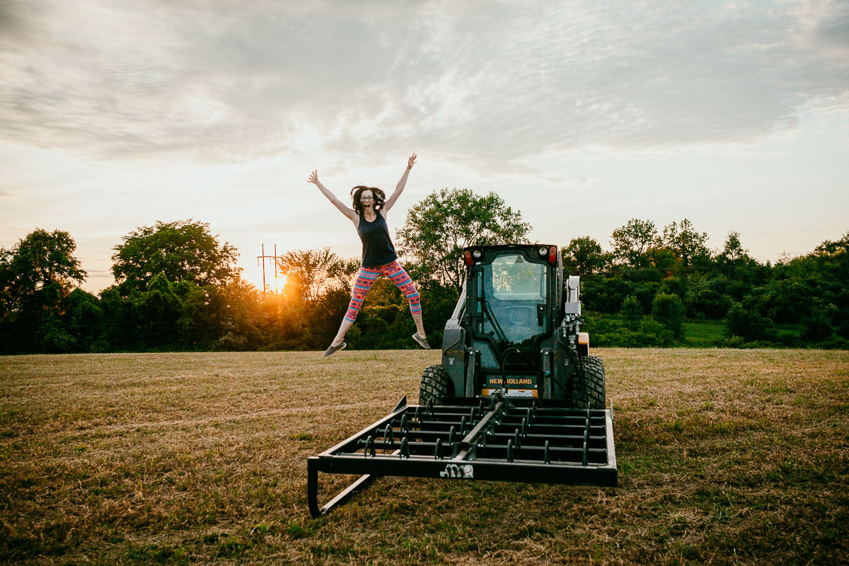 We live on a 10 acre farm. - Our extended family includes dogs, cats, horses, 16 chickens, and many barn swallows.Through the spring and summer we farm hay. My job is to hop in the skid loader and accumulate all the bales out of the field.I love this job! I start having skid loader withdrawals over the winter months.