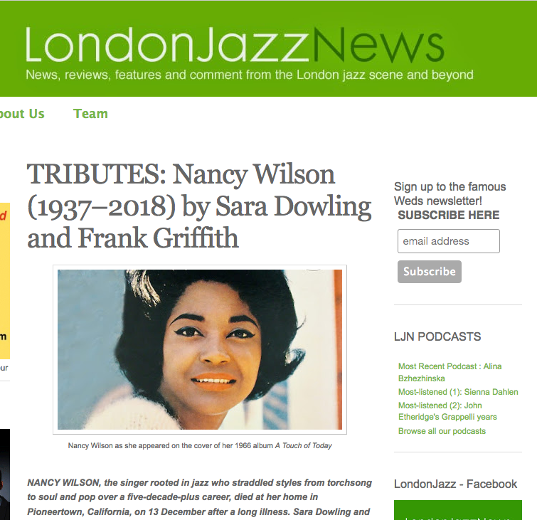 Sara's tribute to Nancy Wilson