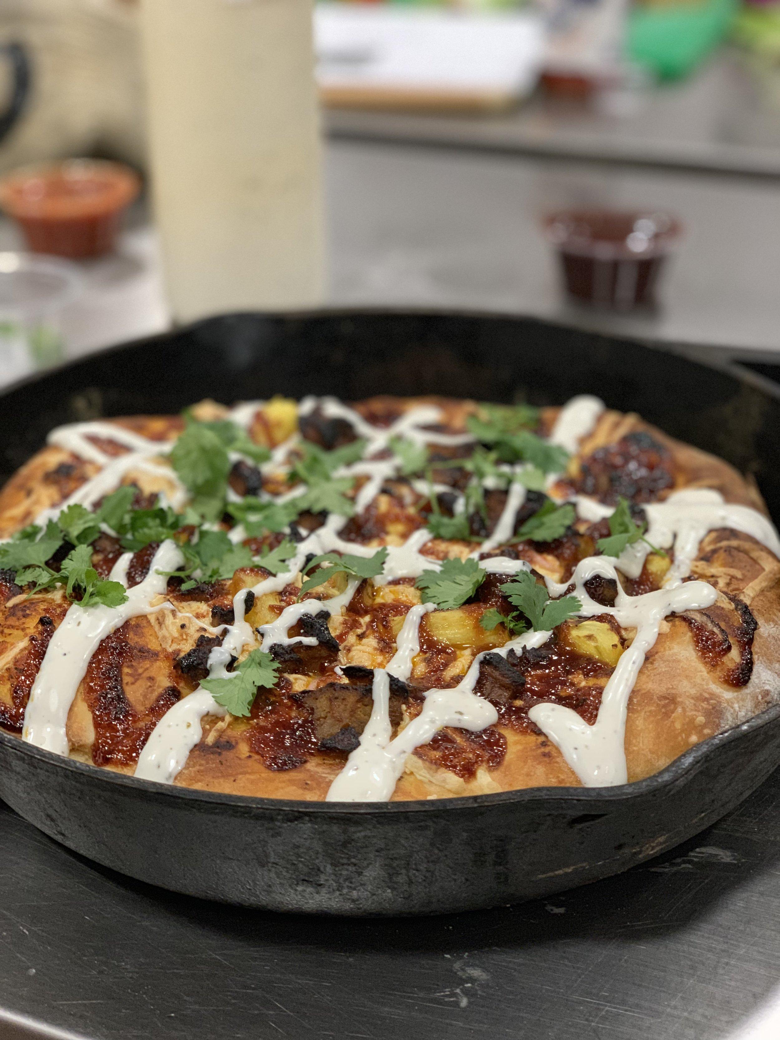 CAST-IRON BBQ CHICKEN PIZZA
