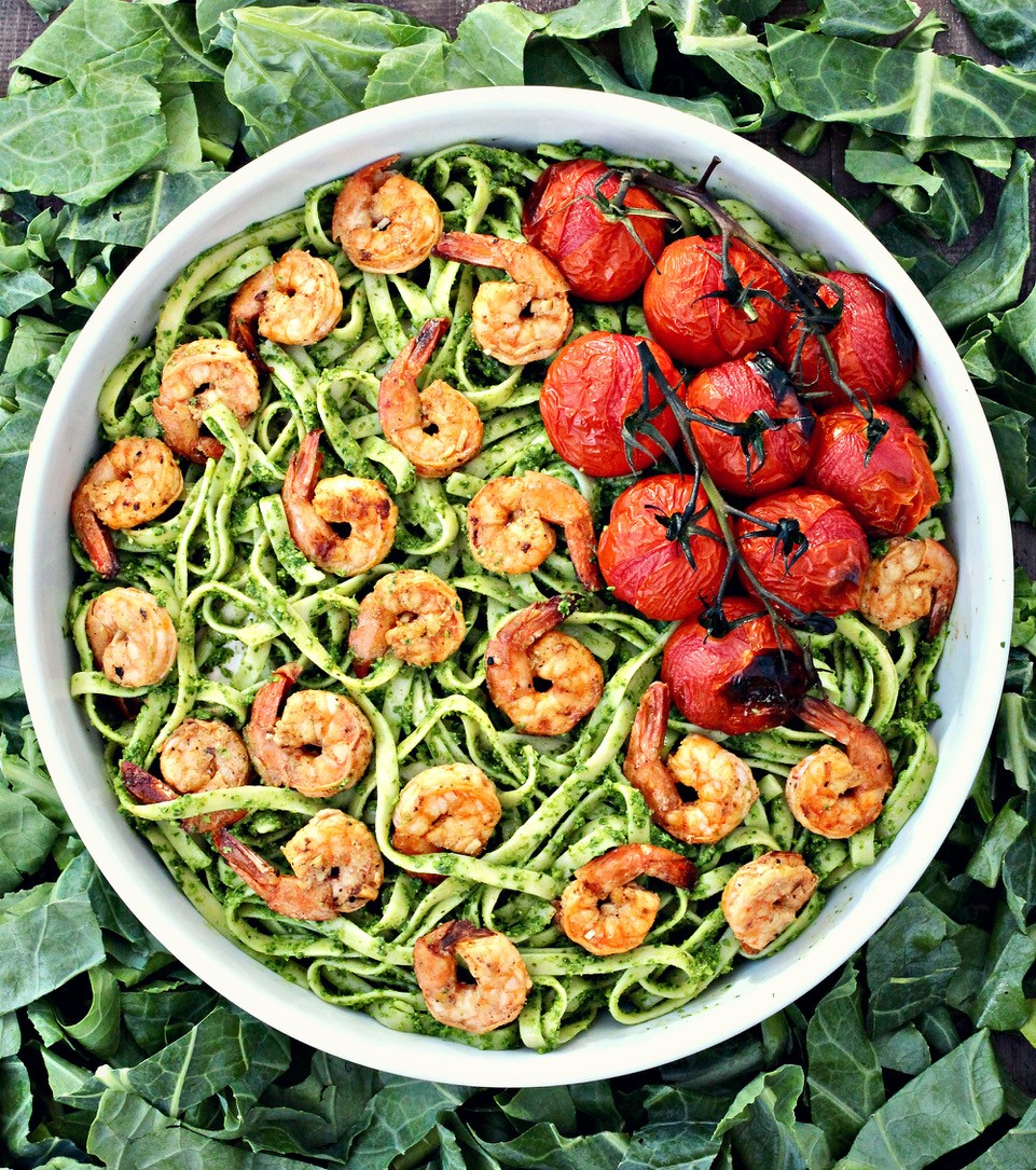 Fettuccine with Collard Greens Pesto and Grilled Shrimp